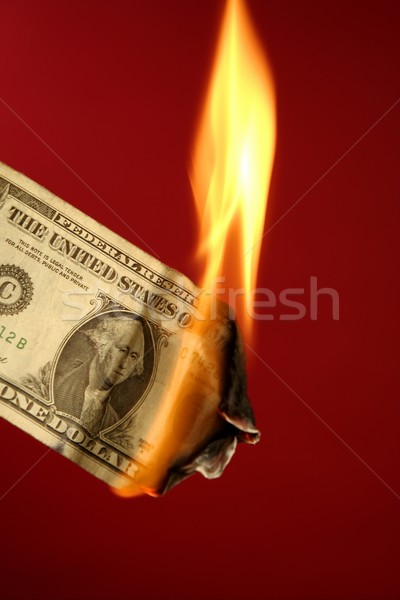 Dollar note burning in fire over red Stock photo © lunamarina