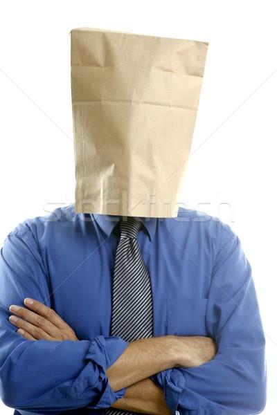 Biznesmen torby papierowe głowie papieru twarz streszczenie Zdjęcia stock © lunamarina