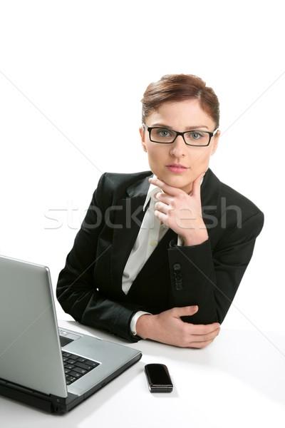 Stock fotó: üzletasszony · portré · izolált · fehér · stúdió · arc