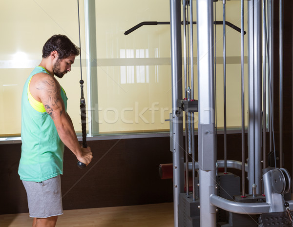 Triceps wysoki treningu człowiek siłowni wykonywania Zdjęcia stock © lunamarina