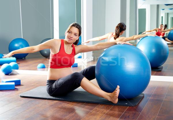 pregnant woman pilates saw exercise workout Stock photo © lunamarina