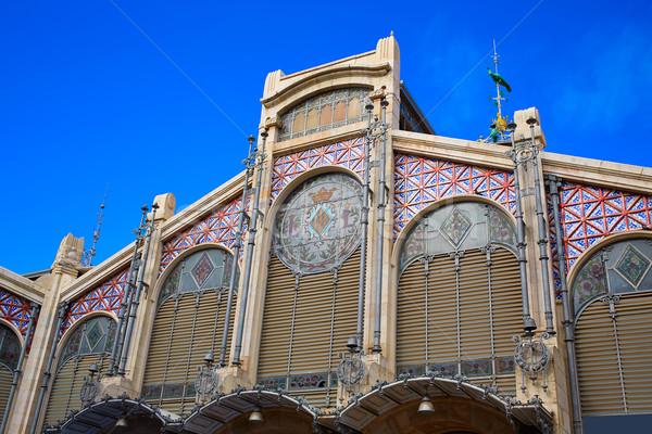 Valencia központi piac Spanyolország homlokzat épület Stock fotó © lunamarina