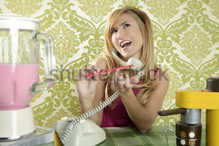 retro housewife telephone woman vintage wallpapaper Stock photo © lunamarina