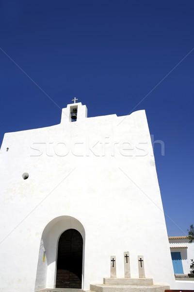 Balearic islands white church in Formentera Stock photo © lunamarina