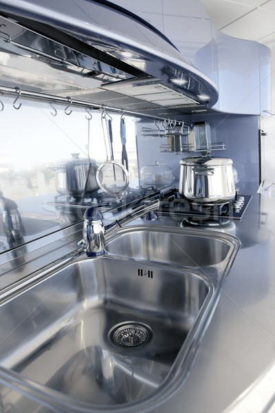 Blue silver kitchen modern architecture decoration interior design Stock photo © lunamarina