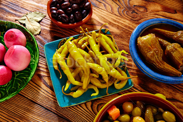 Tapas pickles mix olives chili onion eggplant Stock photo © lunamarina