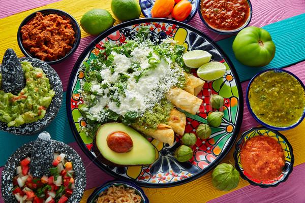 зеленый мексиканская кухня красочный таблице ресторан пластина Сток-фото © lunamarina