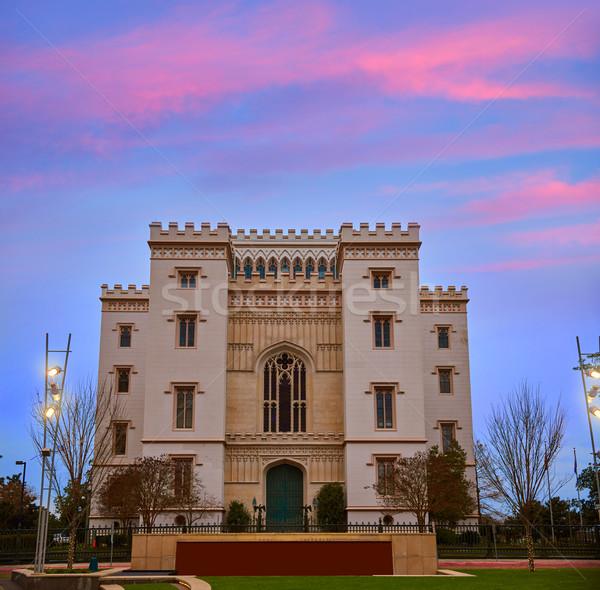Stockfoto: Louisiana · oude · hemel · stad · zonsondergang · Blauw