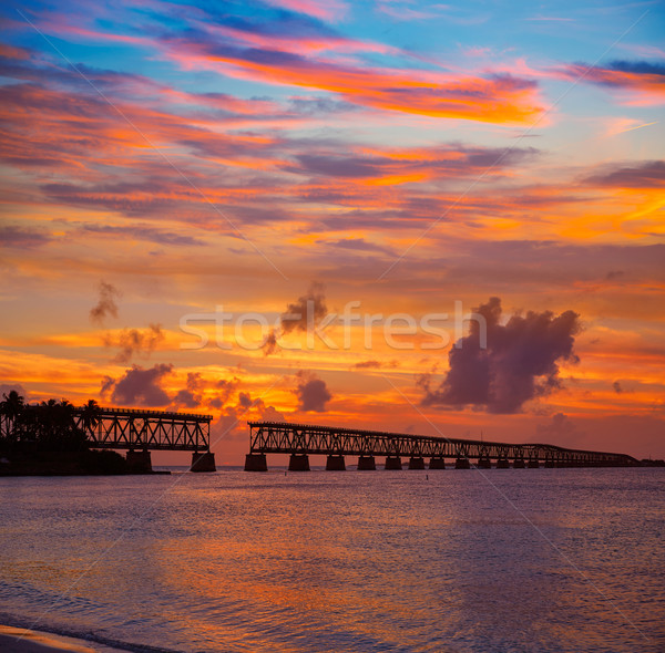 Florida Keys old bridge sunset at Bahia Honda Stock photo © lunamarina