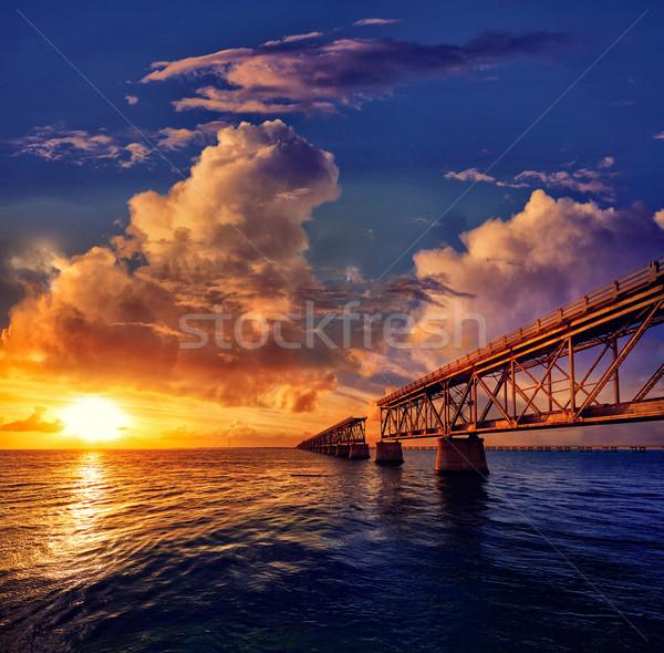 Stockfoto: Florida · sleutels · oude · brug · zonsondergang · park