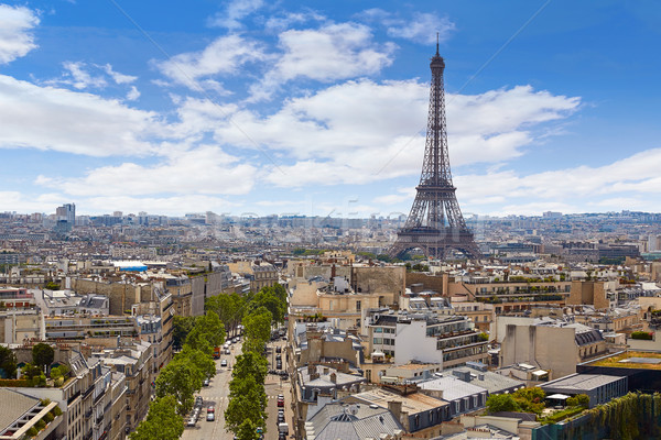 Párizs Eiffel-torony légi Franciaország sziluett légifelvétel Stock fotó © lunamarina