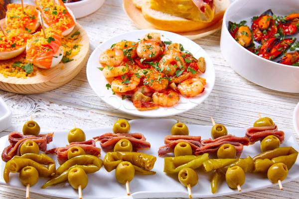 Tapas keverék étel Spanyolország receptek fehér Stock fotó © lunamarina
