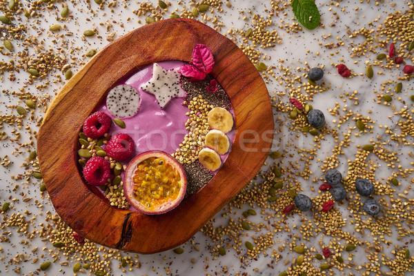 Tazón zalamero pasión frutas frambuesas semillas Foto stock © lunamarina