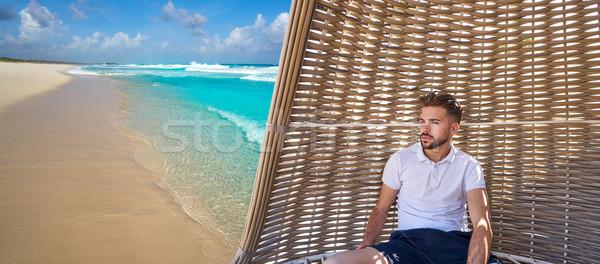 Photo stock: Jeunes · barbe · homme · parasol · plage · tropicale · plage