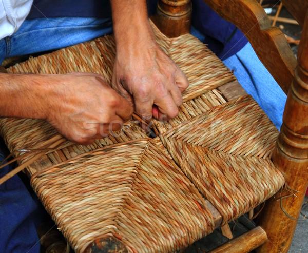 enea traditional spain reed chair handcraft man hands working Stock photo © lunamarina