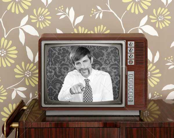 retro tv presenter mustache man wood television Stock photo © lunamarina