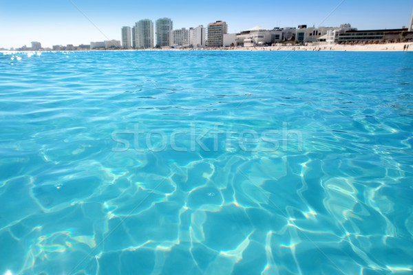 Cancun beach view from turquoise Caribbean Stock photo © lunamarina