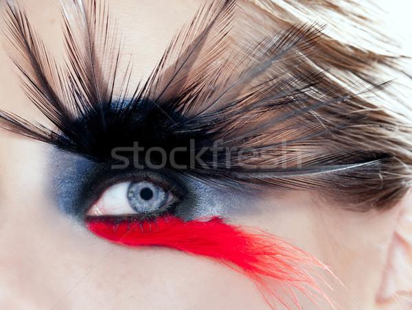 Stockfoto: Zwarte · vogel · vrouw · oog · make-up · macro