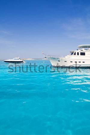 yatch in turquoise beach of Formentera Stock photo © lunamarina
