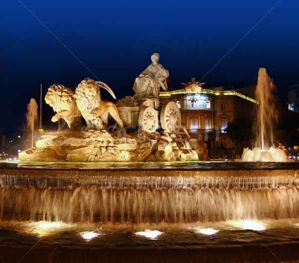 Cibeles night statue in Madrid Paseo Castellana Stock photo © lunamarina
