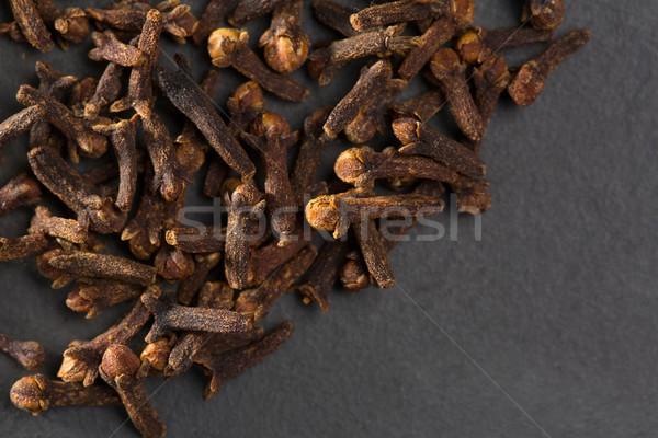 Szegfűszeg fűszer makró közelkép fekete étel Stock fotó © lunamarina