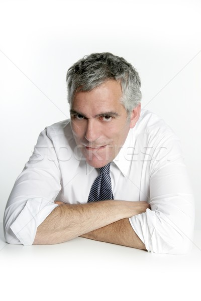 businessman senior seductive gesture mouth Stock photo © lunamarina