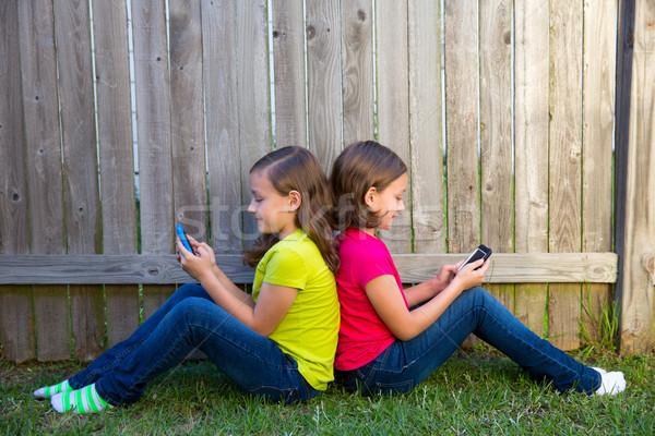 Gêmeo irmã meninas jogar sessão Foto stock © lunamarina