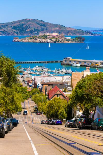 San francisco Hyde Street and Alcatraz island Stock photo © lunamarina