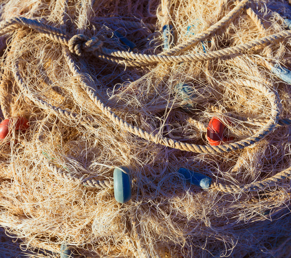 Fishing trammel net tackle texture in Gandia port Stock photo © lunamarina