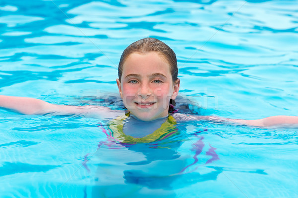 Blond girl swimming in the pool with red cheeks Stock photo © lunamarina