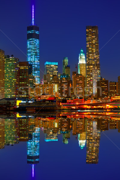 Manhattan sunset skyline New York NYC US Stock photo © lunamarina
