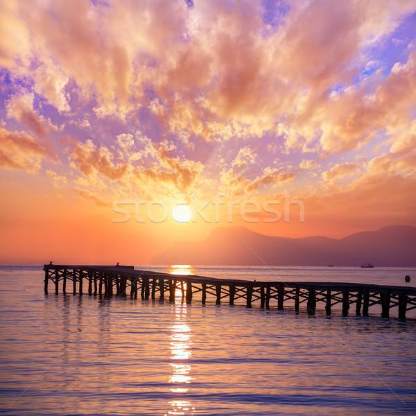 Majorca Muro beach sunrise Alcudia Bay Mallorca Stock photo © lunamarina