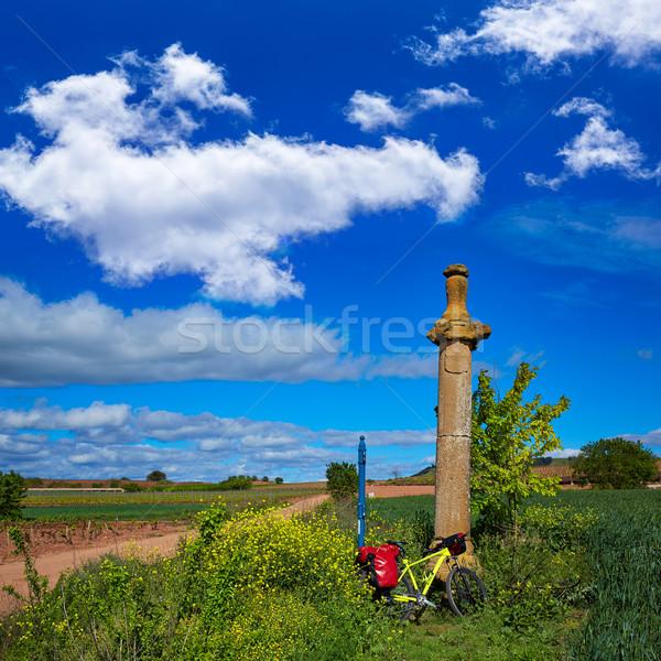 Azofra Saint James Way cross column La Rioja Stock photo © lunamarina