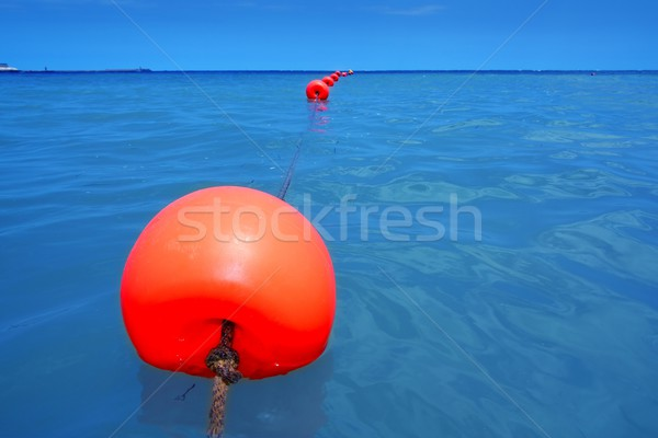 Rood boei rij Blauw zee Stockfoto © lunamarina