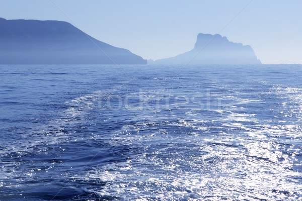 Calpe Ifach Peñon view from Mediterranean Altea blue fog sea Stock photo © lunamarina