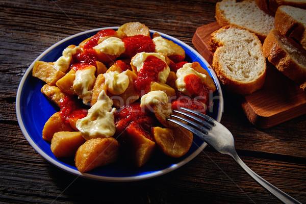 Tapas sültkrumpli paradicsom olaj vacsora villa Stock fotó © lunamarina