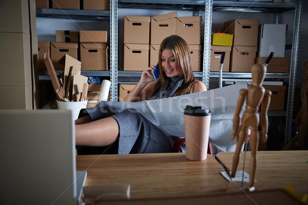 Architect woman office warehouse talking mobile  Stock photo © lunamarina