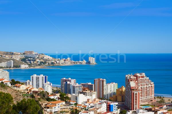 Cullera beach aerial with skyline of village Valencia Stock photo © lunamarina