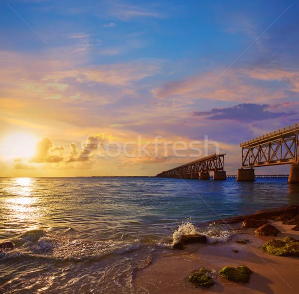 Floride touches vieux pont coucher du soleil parc Photo stock © lunamarina