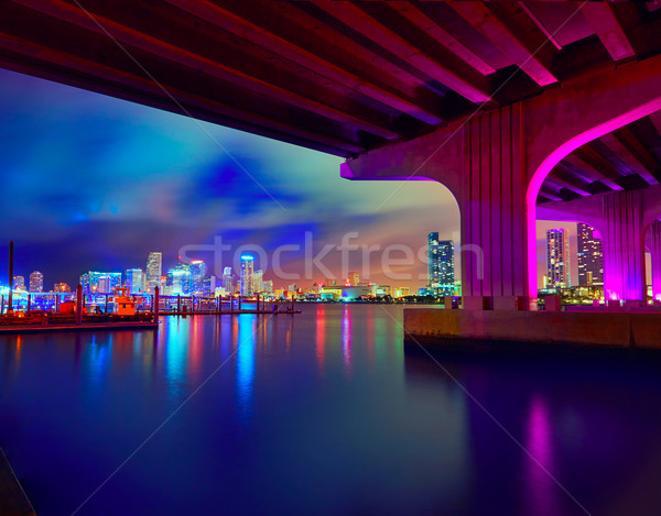 Miami belváros sziluett naplemente Florida USA Stock fotó © lunamarina
