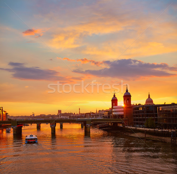London sunset at Thames with St Paul Pauls Stock photo © lunamarina