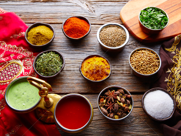 Culinária indiana temperos coentro caril cardamomo Foto stock © lunamarina