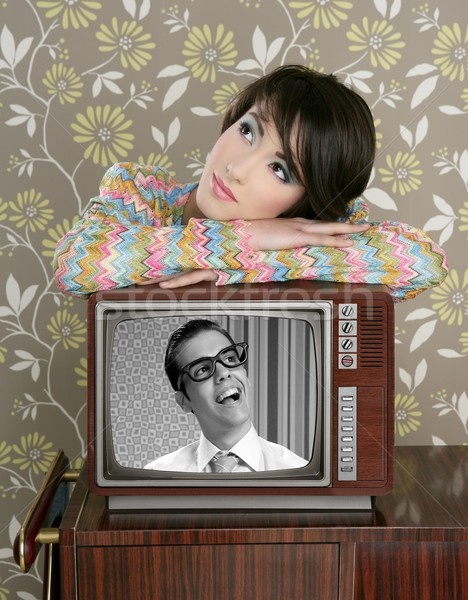 retro woman in love with tv nerd hero Stock photo © lunamarina