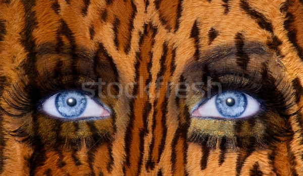 blue fashion makeup eyes leopard jaguar skin texture Stock photo © lunamarina