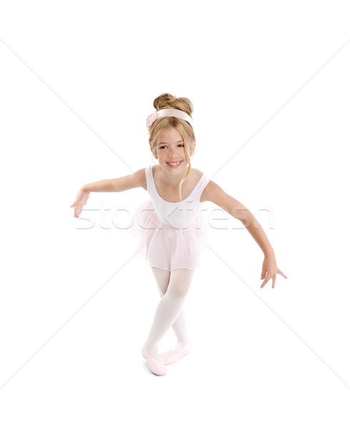 Ballerina little ballet children dancer dancing on white Stock photo © lunamarina