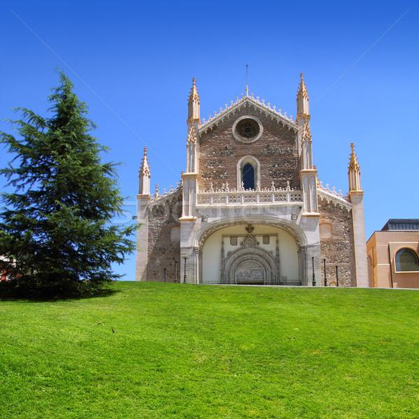 Madryt kościoła zielona trawa trawy zielone miejskich Zdjęcia stock © lunamarina