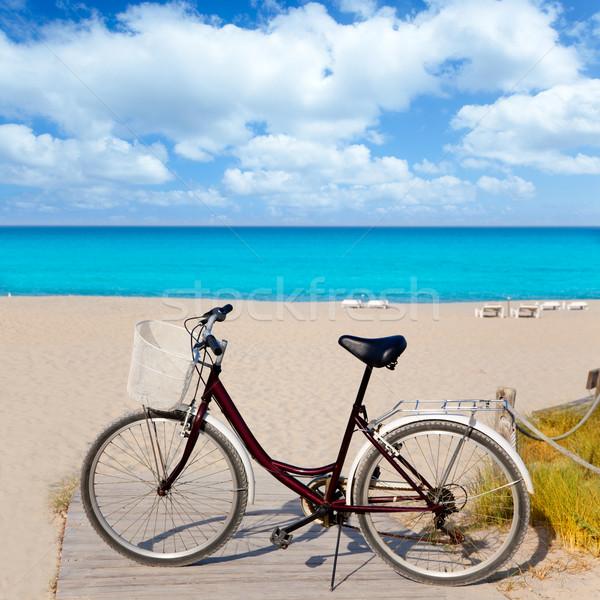 Bicycle in formentera beach on Balearic islands Stock photo © lunamarina