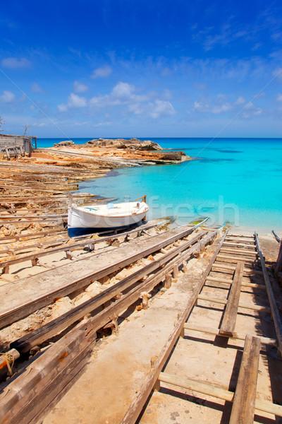 Es Calo de San Agusti port in Formentera island Stock photo © lunamarina