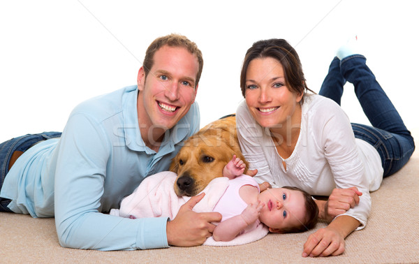 Baby mother and father happy family and dog Stock photo © lunamarina