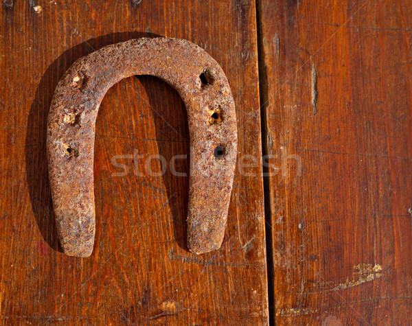 Antieke hoefijzer geluk symbool vintage Stockfoto © lunamarina